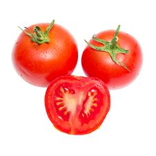 Red Tomato Vegetable With Cut Isolated Stock Image