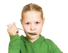 Free Girl Eats Isolated Royalty Free Stock Image - 21089996