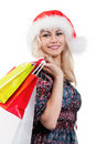Free Christmas Woman With Shopping Bags Royalty Free Stock Photo - 21095605