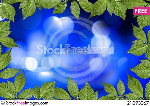Free Blue Abstract Background With Plant Frame Royalty Free Stock Photography - 21093067