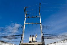Free Electricity Post With Blue Sky Stock Photos - 21090173