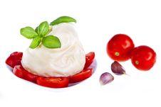 Mozzarella Cheese, Tomato And Basil Stock Photo