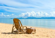 Chairs On Beach Near The Sea Royalty Free Stock Images