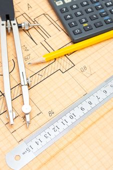 Free Mechanical Circuit, Ruler, Compass, Calipers Royalty Free Stock Image - 21091406