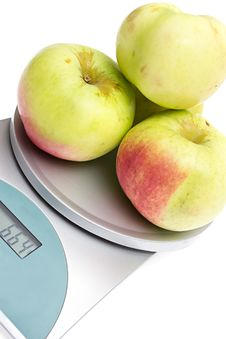 Free Apples On The Scales On  White Stock Images - 21091884