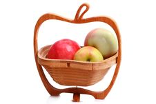 Free Wooden Vase With Ripe Apples Stock Images - 21091934