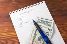 Free Shopping List With Money Stock Images - 21092594
