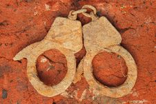 Old Handcuffs Stock Photo