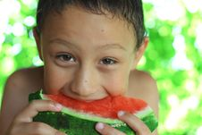 Free Little Boy Eating Watermelon Stock Images - 21093894