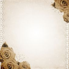 Free Old Grunge Background With Roses Royalty Free Stock Images - 21094409