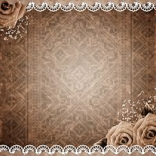 Free Old Grunge Background With Roses Stock Images - 21094434