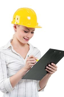 Free Girl With Hard Hat Stock Photography - 21095082