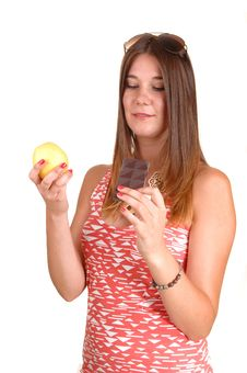 Apple Or Chocolate Stock Photography