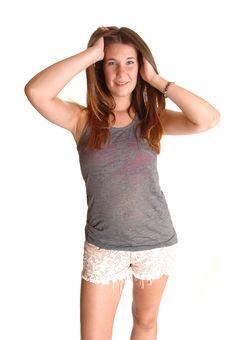 Free Teen Messing Her Hair. Stock Photos - 21095463