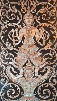 Free Old Thai Art Made From Pearl On The Door Of Church Royalty Free Stock Photography - 21096857