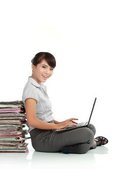 Free Asian Woman With Laptop Stock Images - 21097754