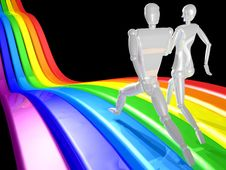 3D Couple Running Rainbow Stock Photography
