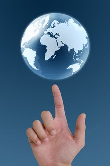 Free Hand Pointing Earth Globe. Royalty Free Stock Photos - 21098398