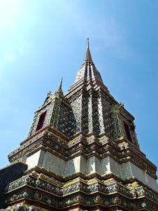 Angle Of Stupa At Wat Pho In Bangkok , Thailand Royalty Free Stock Photography