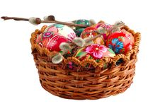 Free Basket With Hand Painted Easter Eggs Royalty Free Stock Photography - 2111797