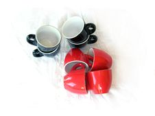 Eight Coffee Cups Stock Image