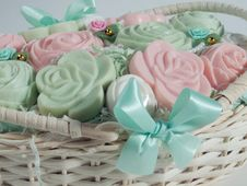 Soaps In The Basket Royalty Free Stock Photography