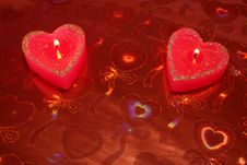 Free Candles In The Form Of Hearts Royalty Free Stock Image - 2115846