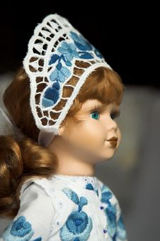 Doll In Folk Costume With Blue Royalty Free Stock Photography