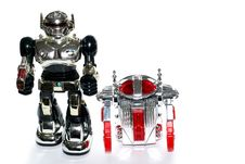 2 Toy Robot Friends Royalty Free Stock Photos