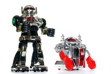 2 Toy Robot Friends Royalty Free Stock Images
