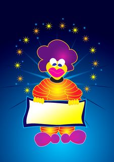 Free Clown With Empty Board Stock Photo - 2118550