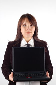 Free Business Woman Holding Laptop Royalty Free Stock Photography - 2118817