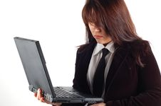 Free Business Woman Holding Laptop Stock Photography - 2118832