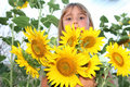 Free Girl With Sunflowers Outdoors Royalty Free Stock Photo - 21101205