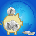 Free Piggy Bank And The Earth Stock Images - 21102794