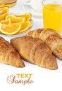 Free Croissant Bun With Orange Juice Royalty Free Stock Images - 21103469