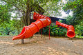 Free Red Colorful Slide Treehouse Garden Play Area Stock Photo - 21105740