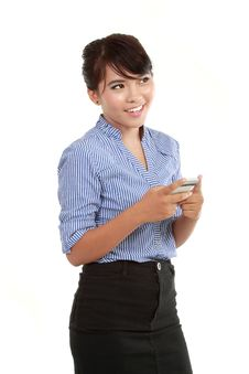 Free Portrait Of Happy Business Woman Text Messaging Stock Images - 21100014