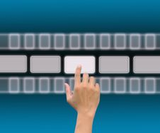 Free Hand Pushing A Button On A Touch Screen Royalty Free Stock Image - 21100156