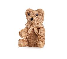 Small Toy Bear From Straw On White Stock Photo
