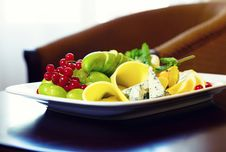 Cheese, Grapes And Redcurrant Royalty Free Stock Image