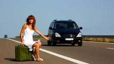 Woman Hitchhiking Royalty Free Stock Image