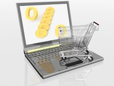 Free Shopping-cart And Laptop Royalty Free Stock Photos - 21101978
