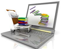 Laptop With The Light Cart Royalty Free Stock Images