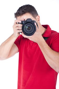 Young Photographer With A Camera Stock Photo