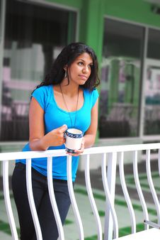 Free Beautiful Woman Drinking Coffee In The Morning Stock Images - 21104004