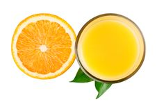 Free Half Orange And Juice With Leaves From Top Stock Photo - 21104440