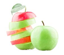 Free Mixed Red And Green Apples With Leaf Stock Image - 21104471