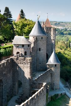 Free Medieval Wall With Towers, Carcassonne, France Royalty Free Stock Image - 21105426