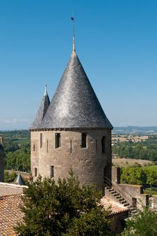 Free Medieval Tower, Carcassonne, France Stock Image - 21105481